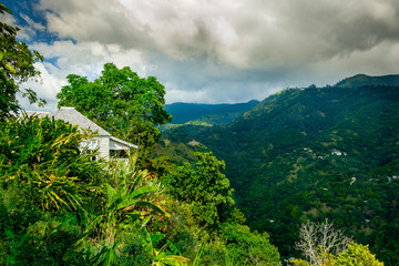 Kingstown hill, Jamaica,  Caribbean-style house surrounded by a lush vegetation in the Blue Mountain
