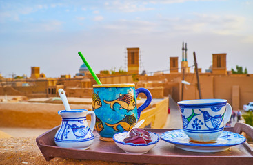 Cafe on the roof, Yazd, Iran