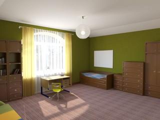 children's room, child's room, interior visualization, 3D illustration