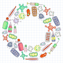 Cough, pills, influenza, flu, sickness. Vector pattern with doodle icons. Healthcare and medicine.