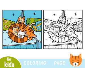Coloring book, Four cats