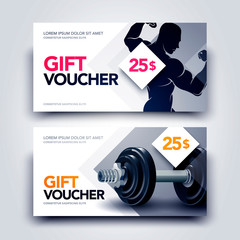 Vector Illustration gym gift voucher template with body builder and dumbbell. Universal white flyer template for advertising or business.