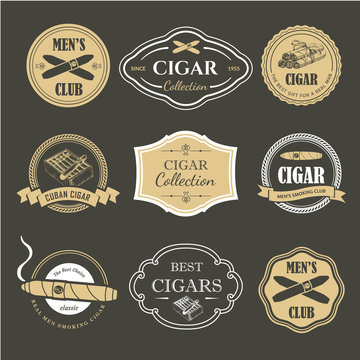 Vector Illustration with logo and labels. Simple symbols tobacco, cigar. Traditions of smoke. Decorative illustrations, icon for your design. Gentleman style.