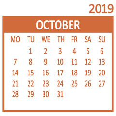 October. Tenth page of set. Calendar 2019, template. Week starts from Monday. Vector illustration