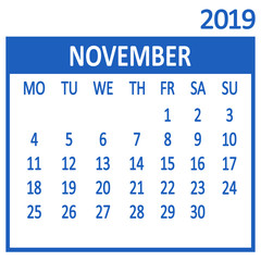 November. Eleventh page of set. Calendar 2019, template. Week starts from Monday. Vector illustration