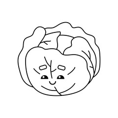 Coloring book, Cabbage with a cute face