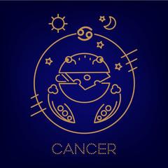 Cancer zodiac vector sign, logo, tattoo or illustration.  Food horoscope for kids.
