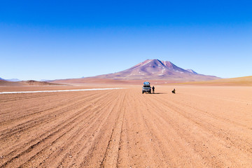 Off road vehicle on Bolivian andean plateau