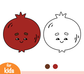 Coloring book, Pomegranate with a cute face