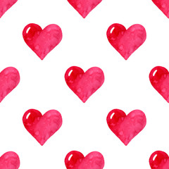 Hand painted watercolor seamless pattern for Valentine's Day, wedding invitation,greeting card.