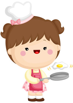A vector set of a cute little girl cooking sunny side up