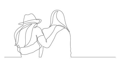 Fototapeta two standing friends hugging - one line drawing obraz