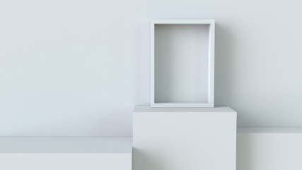 Frame with white cube podium on blank wall background. 3D rendering.