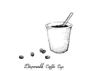 Coffee Time, Illustration Hand Drawn Sketch of Takeaway Coffee in A Disposable Cup Isolated on White Background.