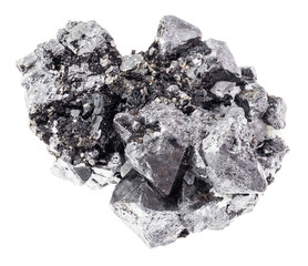 rough crystalline Magnetite rock on white