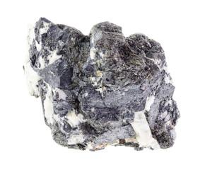 raw knopite stone (variety of perovskite) on white