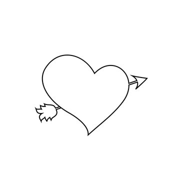 black outline   heart pierced with arrow on white background.