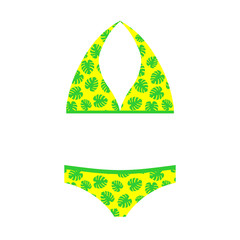 Vector flat yellow and green swimsuit