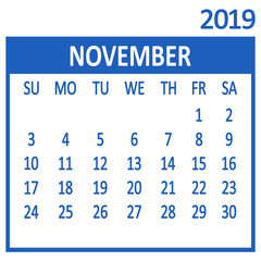 November. Eleventh page of set. Calendar 2019, template. Week starts from Sunday. Vector illustration