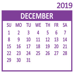 December. Twelfth page of set. Calendar 2019, template. Week starts from Sunday. Vector illustration