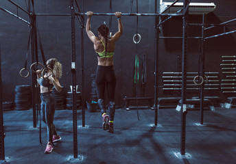 Women training chins in gym in back image