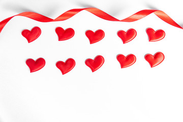 Red heart ribbon white isolated white background