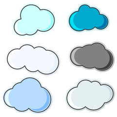 A group of cloud icons of various shapes and colors. Isolated vector illustration on white background.