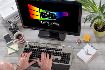 Pictures sharing concept on a computer