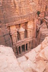 High angle view of Al-Khazneh at Petra