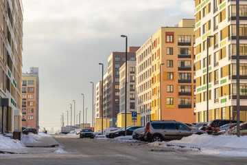 Modern apartment building with colorful facades on the outskirts of the city. Moscow, Russia