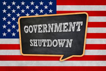 Government Shutdown - chalkboard message warning