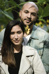 Portrait of couple standing outdoors