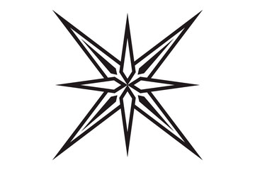 Eight-pointed star. Geometric figure edged faceted star.