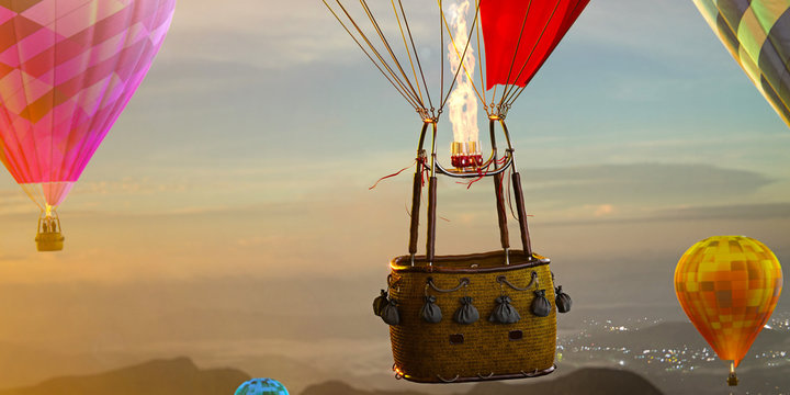 Empty basket hot air balloon beautiful background