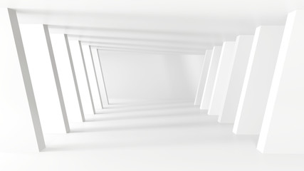 White tunnel with light background, 3d illustration.