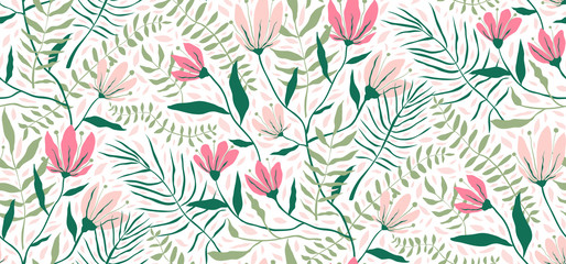 Flowers and Leaves Exotic Design Seamless Pattern