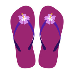 Pink Flip Flops - Pair of magenta flip flop sandals with pink hibiscus flowers