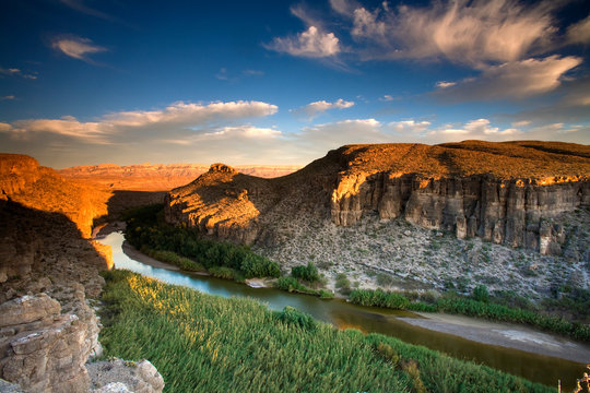 View of the Rio Grande River from the cliffs in Big Bend National Park, Texas