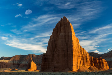 Capitol Reef National Park, Utah: Temple of the Sun (foreground) and Temple of the Moon (background).