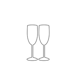 white outline sign of couple champagne glasses on black background.