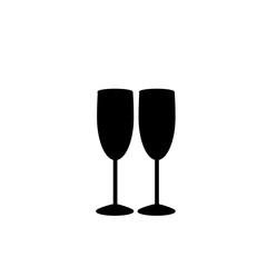 Monochrome illustration of two champaign glasses icon.