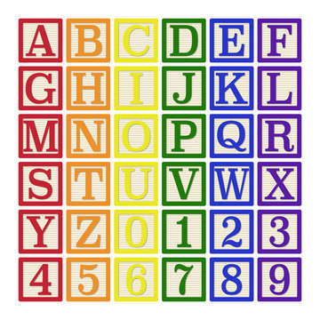 Rainbow Alphabet Blocks - Complete set of 26 letter blocks (A through Z) and 10 number blocks (0 through 9)