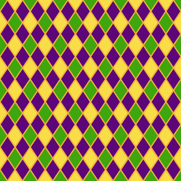 Harlequin Seamless Pattern - Classic harlequin design in Mardi Gras colors of yellow, green, and purple