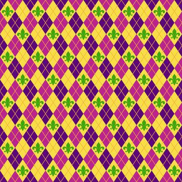 Fleur De Lis and Argyle Seamless Pattern - Colorful fleur de lis and argyle pattern for Mardi Gras