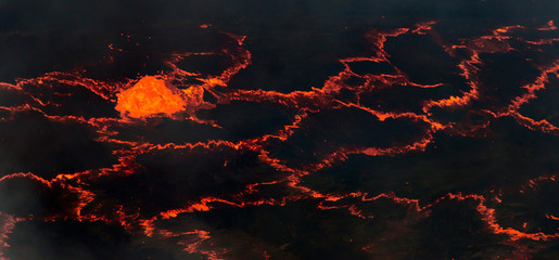 Bubbling red hot lava.