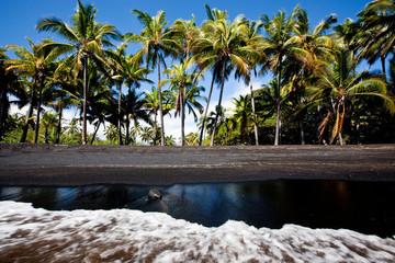 PUNALU'U, HAWAII - FEBRUARY 2, 2010: The punalu'u black sand beach, located outside of Volcanoes National Park.