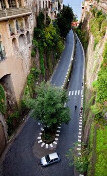 Sorrento, Italy: A narrow winding road along the Amalfi Coast.