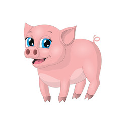 Cute vector hand drawn little pink pig isolated at white background. Animal cartoon character.