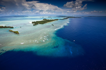 Aerial view of the area known as the blue corner in Palau.