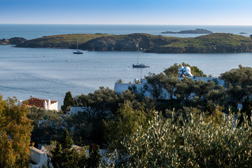 Port Lligat, Mediterranean fishing village.  home to the Spanish , surrealist artist Salvador Dalí for almost three decades.  Two Heads